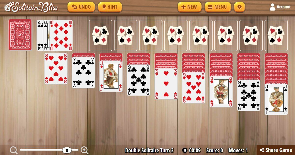 Solitaire Bliss - Double Klondike Solitaire Turn Three