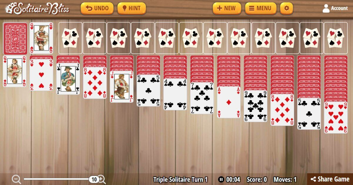 Solitaire Bliss - Triple Klondike Solitaire Turn One